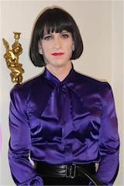 Crossdresser wearing black and white blouse, black sheer jpg 160x240